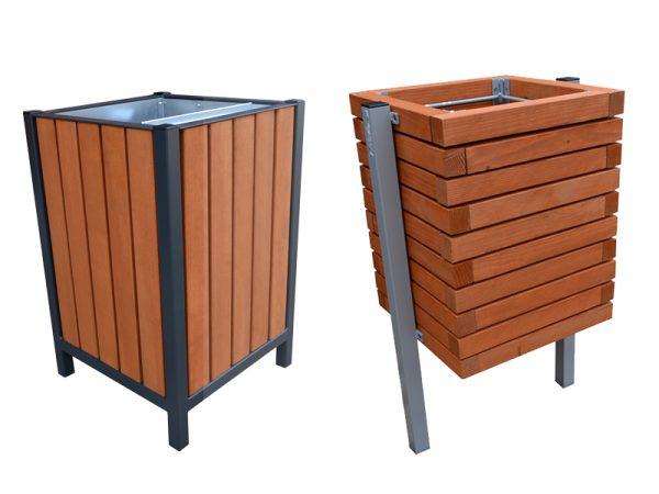 Abfallbehälter aus Stahl und Holz