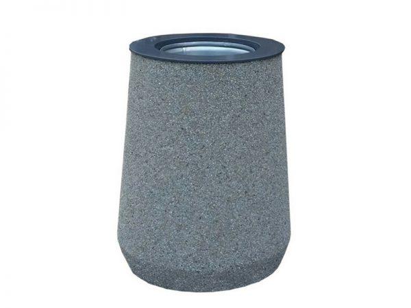 Abfallbehälter aus Beton mit dem Stahlring
