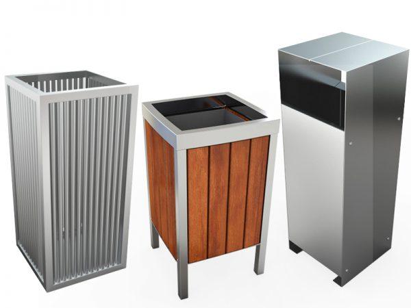 Abfallbehälter aus Edelstahl