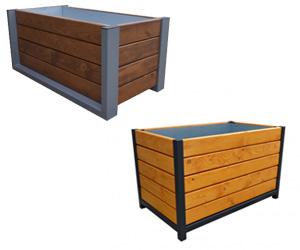 Pflanzkübel aus Stahl und Holz